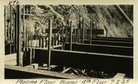 Lower Baker River dam construction 1925-07-02 Placing Floor Beams 4th Floor