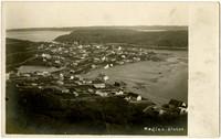 Birdseye view of village of Kodiak, Alaska, and its tidelands