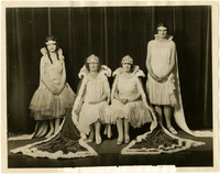 Whatcom and Skagit County 1927 Tulip Queens and princesses pose win crowns and robes