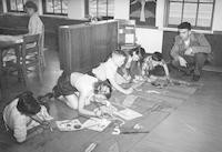 1948 Fifth Graders Working On An Art Project