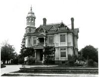 Exterior of grand, ornate Victorian-style house with prominet turret, known as the Roeder-Roth house, Bellingham, Washington