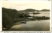 Alitak Cannery buildings, dock, and bunkhouse at shoreline