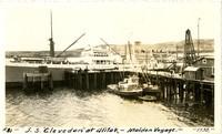 "Large steam/sail vessel ""S.S. Clevedon"" docked at Alitak, Alaska"