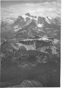 Aerial view across Table Mountain to Mt. Shuksan