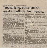 Tree-spiking, other tactics used in battle to halt logging