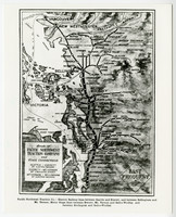 """Image of map showing """"Route of Pacific Northwest Traction Company and Stage Connections"""" north-south along Puget Sound"""