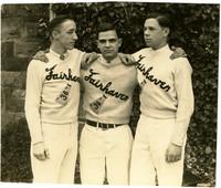 Three male Fairhaven High School cheerleaders