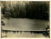 A small cove partially covered with ice, surrounded by forest