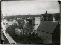Rooftop view of flooded buildings and school of Ferndale, WA