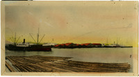 Hand-colored print of view across water of Pacific American Fisheries facility with cannery, ships, shipyard