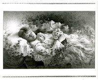 Image of painting by Jimmy Pickett of a young girl who drowned near Olympia, WA, as she lays holding flowers in her burial gown