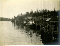 Two tugboats moored dockside at rural waterfront community