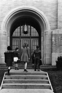 1943 Campus School Building Main Entrance With Students