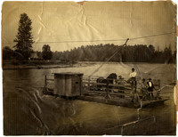 Four men and a horse crossing the Nooksack River at Nugent's Corner