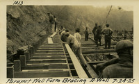 Lower Baker River dam construction 1925-07-24 Parapet Wall Form Bracing (?) Wall