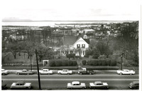 Street view from above of the John Stenger residence, overlooking Bellingham Bay from Prospect street, Bellingham, WA, and future site of Post Office