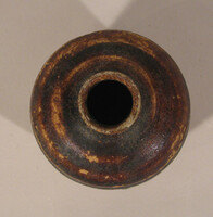 Chalieng ware jar with ovoid body with brown glaze running short of foot