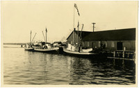Three fishing vessels docked at Pacific American Fisheries, Fairhaven, WA