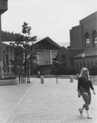 1976 Student Outside Carver Gym