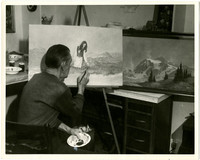 Unidentified artist at an easel painting a picture of a young woman in a meadow with mountains in the background.