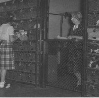 1947 Mrs. Matson in Gym Cage