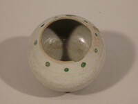 Jar with degraded overglaze red and green enamels in design of dots and blades