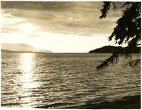 View of San Juan Islands from shore of Lummi Island