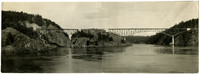 Two-part photograph of Deception Pass Bridge under construction