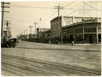 Fairhaven Avenue, downtown Burlington, Washington, with cars lining the streets and Schacht's department store visible in center