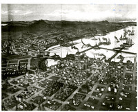 Birdseye view drawing of Bellingham Bay with sail and steam vessels on water, small communities of Fairhaven, Old Bellingham, Sehome, and Whatcom surrounding the bay