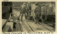 Lower Baker River dam construction 1925-08-29 Placing Concrete in Piers at Dam