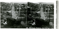 Hilltop view of Harris Avenue, Fairhaven, Washington, looking easterly towards the Fairhaven Hotel in the distance