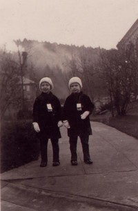 1934 Pattison Twins On Campus Near Library