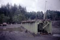 Ruins of Weyerhaeuser railroad bridge at mouth of Green River.