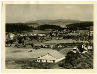 Birdseye view of small waterside town of Friday Harbor, San Juan Island, Washington