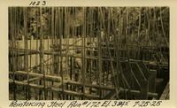 Lower Baker River dam construction 1925-07-25 Reinforcing Steel Run #172 El.3845
