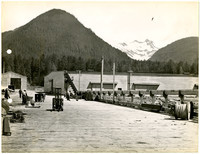 Dock with equipment, forklift, workers, and warehouses in background, with snowy mountain peaks in distance