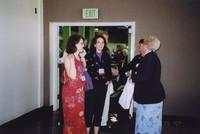 2007 Reunion--Ellen (Nugent) Harris and Laura Nugent Greeting WWU President Karen Morse