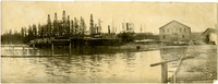 View from water of waterfront cannery and several drydocked vessels