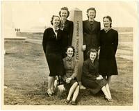 Six women at the International Boundary (U.S. - Canadian) near Peace Arch