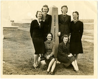 Six women at the International Boundary (U.S. - Canadian) near Peace Arch