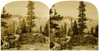 A stereo-opticon photograph of alpine scene with jagged mountains in background