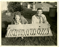 A smiling man and  woman crouching on grass,  holding a board with 24 fish lined up on it