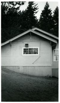Back view of Craftsman clapboard building used as Geneva Community Hall, Lake Whatcom