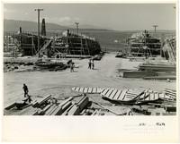 Northwestern Shipyard with three ships under construction