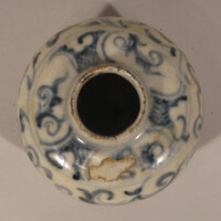 Jarlet with blue decoration of floral scrolls