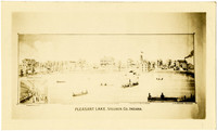 Photo of drawing of buildings along shoreline of Pleasant Lake, Indiana, with several boats on the water