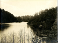 Lake amid forested hills