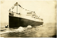 """Pacific American Fisheries wooden steamship """"Firwood"""" at its launching"""