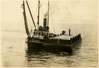 "Fishing barge secured to fishtrap tender ""Sachem"""